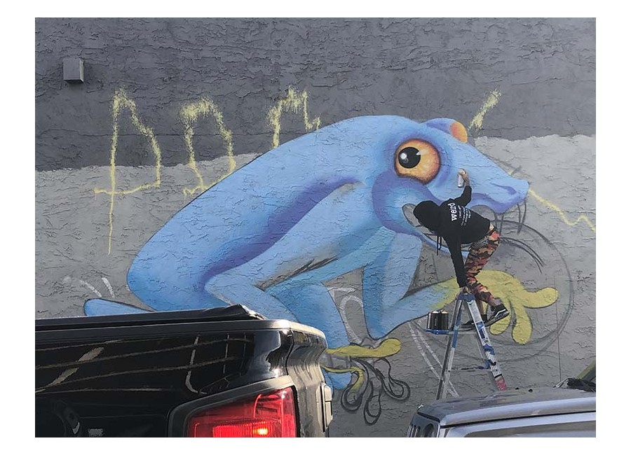Artista dipinge un murales con spray-paint a Wynwood.